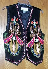 Size Medium Vintage Women's Erez Levy Black Leather Vest M Hippy Retro Bohemian