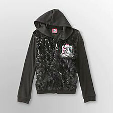 57% OFF! MONSTER HIGH SEQUIN FAUX FUR HOODIE JACKET SMALL 6/6X