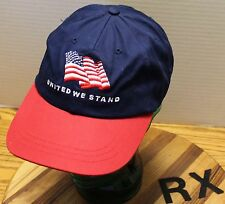 """VERY NICE """"UNITED WE STAND"""" PATRIOTIC HAT RED, WHITE & BLUE ADJUSTABLE VGC"""