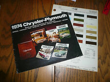 1974 Chrysler Plymouth Barracuda Road Runner Fury Sales Brochure & Paint Chips