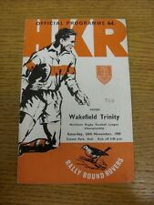 20/11/1965 Rugby League Programme: Hull Kingston Rovers v Wakefield Trinity (cre