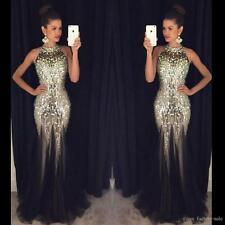 Luxury Crystal Bead Mermaid Black Celebrity Formal Evening Prom Gown Party Dress