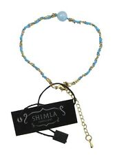 SH-716 Shimla bracelet feature Aquamarine Bead Chain & Blue Cord