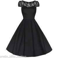 PRETTY KITTY ROCKABILLY 50s BLACK LACE VINTAGE SWING PROM PARTY DRESS 8-26