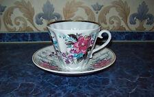 "Vintage UdSSR LFZ Lomonosov Porzellanmanufaktur Tasse mit Untertasse ""Blumen"""