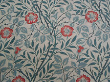 William Morris & Co Curtain Fabric  'Sweet Brier' 4 METRES Green/Coral - Cotton