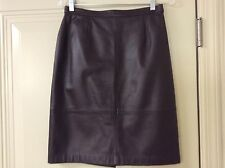TALBOTS DARK CHOCOLATE BROWN LEATHER PENCIL STRAIGHT SKIRT SIZE 8 P IN EUC