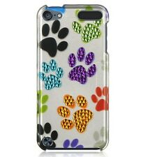 iPod Touch 5th & 6th Gen - HARD DIAMOND BLING SKIN COVER COLORFUL DOG PUPPY PAWS