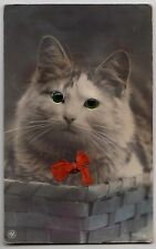 "POSTCARD - novelty ""glass-eye"" cute tabby cat in basket & red bow"