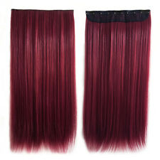 Woman's Hair Extensions Synthetic Clip-In Hairpiece (Wine red)