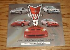 Original 2003 Pontiac Grand Am Foldout Sales Brochure 03 SE GT