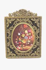 "Vintage Ornate Brass Wall Picture Frame Made in Italy 5.5"" x 4"" Oval Glass"