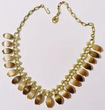 collier ancien bijou vintage couleur or cabochon nacré couleur marron * 3571