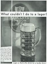 Barclays London Lager 1931 Advertisement Ad A596
