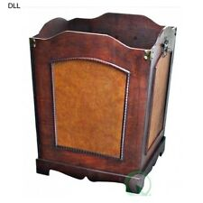 Wood Trash Can Faux Leather Waste Basket Wooden Bin Container Antique Decor