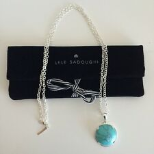 "LELE SADOUGHI Half-Moon Turquoise Pendant Silver 32"" Long Necklace NEW! $110"