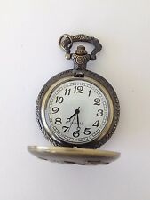 Nice Ornate Antiqued Gold Tone Ship Hand Pocket Watch