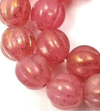 25 Czech Glass Melon Round Beads 8mm - Milky Pink - Marbled Gold