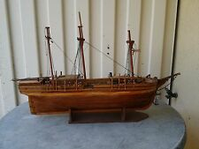 Pre-WWI Handmade 19th Century 3-Mast Whaler Ship  *** 100 YEARS OLD ***