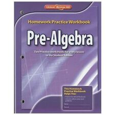 Pre-Algebra, Homework Practice Workbook by McGraw-Hill Staff (2008, Paperback)