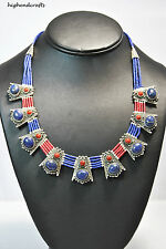 TIBETAN SILVER LAPIS AND CORAL CROWN NECKLACE/NEW DESIGN BY highendcrafts