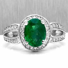 2.90 Carats Natural Emerald & Diamond 14K Solid White Gold Ring