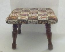 Vintage Small Square Tapestry Footstool Multi Color Floral Check