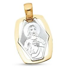 14k Yellow White Gold Jesus Portrait Pendant Christ Medal Charm Solid Two Tone