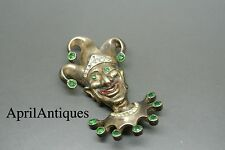 Vintage Reja sterling green rhinestone figural Clown Brooch