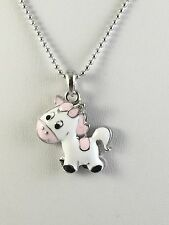 Necklace Horse Pink and White Silver Tone Ball Chain 18 Inches N115HP