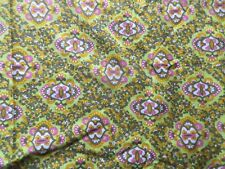 Vintage 1940's /50's Cotton Dress Making Fabric Pink Green Paisley Style Design