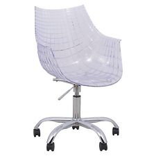 Ashville Swivel Arm Chair With Chromed Leg in Clear