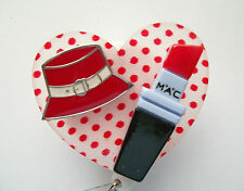 POLKA DOT RED HAT LIPSTICK RN MEDICAL DOCTOR EMT OFFICE NURSE ID BADGE HOLDER