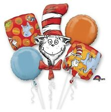 New Dr. Seuss Cat in the Hat Birthday Party Favor 5CT Foil Balloon Bouquet