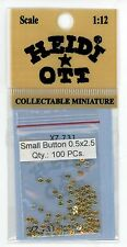 Dollhouse Miniature Set of 100 Buttons in Gold (2.5mm) by Heidi Ott