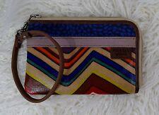 FOSSIL Key Per Zig to Zag Striped Zip Wristlet Wallet
