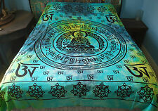 New Om Mantra Double Bedspread Throw Hippy Fair Trade Buddhism Om Mani Padme Hum