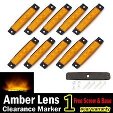 10X Amber 12V 24V 6 LED Truck Bus Boat Trailer Side Marker Indicators Light Lamp