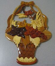 Home Kitchen Decor Autumn Basket Wall Plaque Hand Carved Wood 14x9