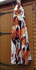 Forever Unique Boutique Maxi Fire Print Halter neck White Orange Dress 38 8 10