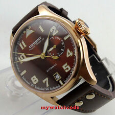 42mm Debert coffee dial rose golden date power reserve automatic mens Watch C84