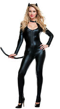 Sexy Catwoman Leather Zipper Wetlook Jumpsuit Catsuit Club Fancy Dress Bodysuit