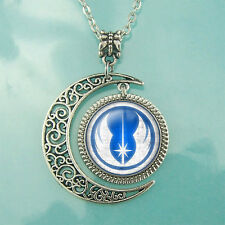 Jedi Order Scratched Necklace Star wars Pendant Moon jewelry Blue Charm gift