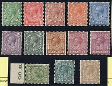 KGV 1924 set of 13 wmk Block Cypher 1 control W35 on 9d olive green MM