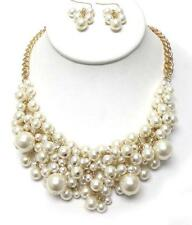 G7 Faux Pearl Multi Layer Bib NECKLACE EARRING SET White Goldtone Classic NEW