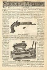 Hawley's Air Target Pistol, Vintage 1870 Antique Print