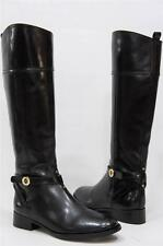 TORY BURCH BRITA RIDING BLACK  LEATHER BOOTS  SHOES 7 $495