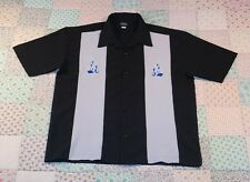 ANCHOR BLUE Black & Gray Vtg Look Bowling Shirt Sz XL . Embroidered Flames