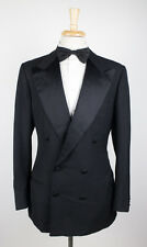 New. KITON NAPOLI Luxurious Black Wool Double Breasted Tuxedo Suit 52/42 L $7200