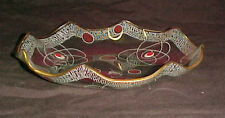 Vtg Mid Century Retro Atomic Age Glass Plate Candy Dish Christmas Red Gold Deep